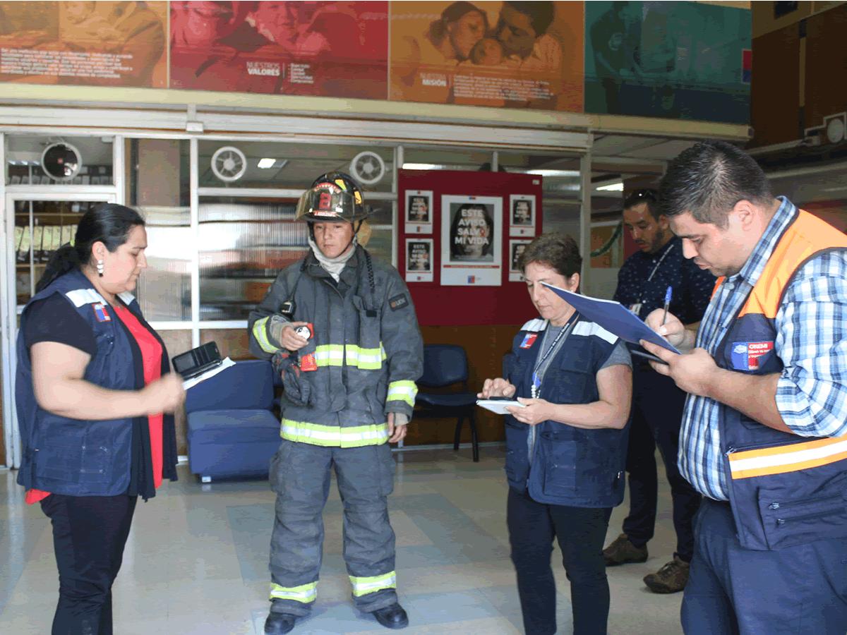 primer simulacro de incendio del servicio de salud ñuble